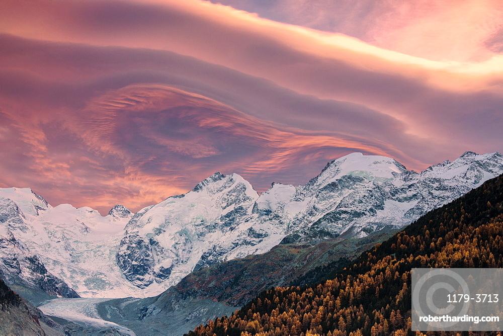 Sunset clouds above Piz Bernina and Morteratsch glacier, Engadine, canton of Graubunden, Switzerland, Europe