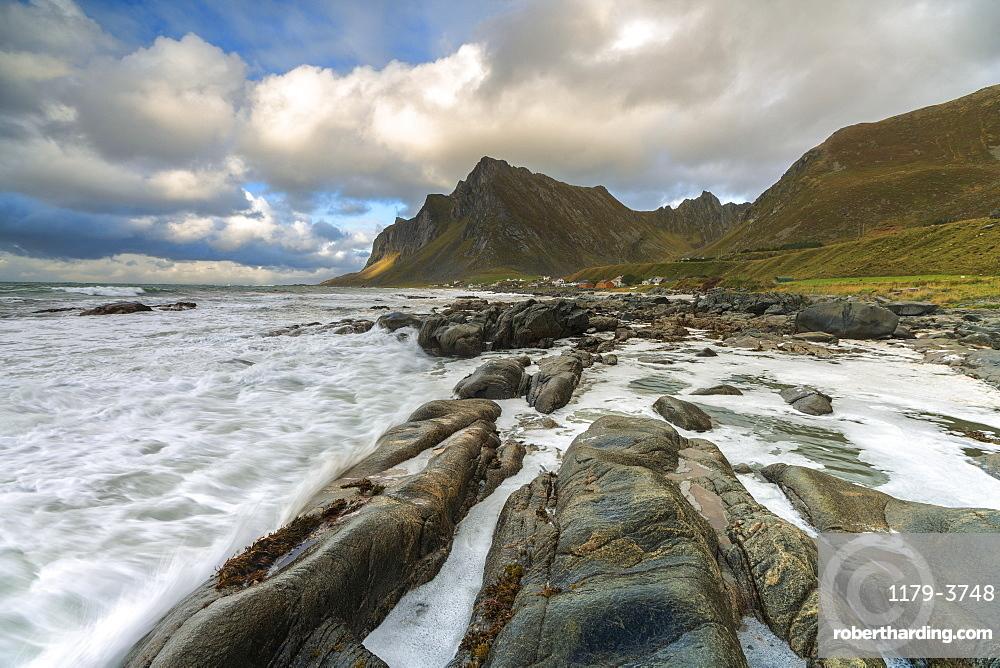 Rocks on beach in Vikten, Lofoten Islands, Norway, Europe