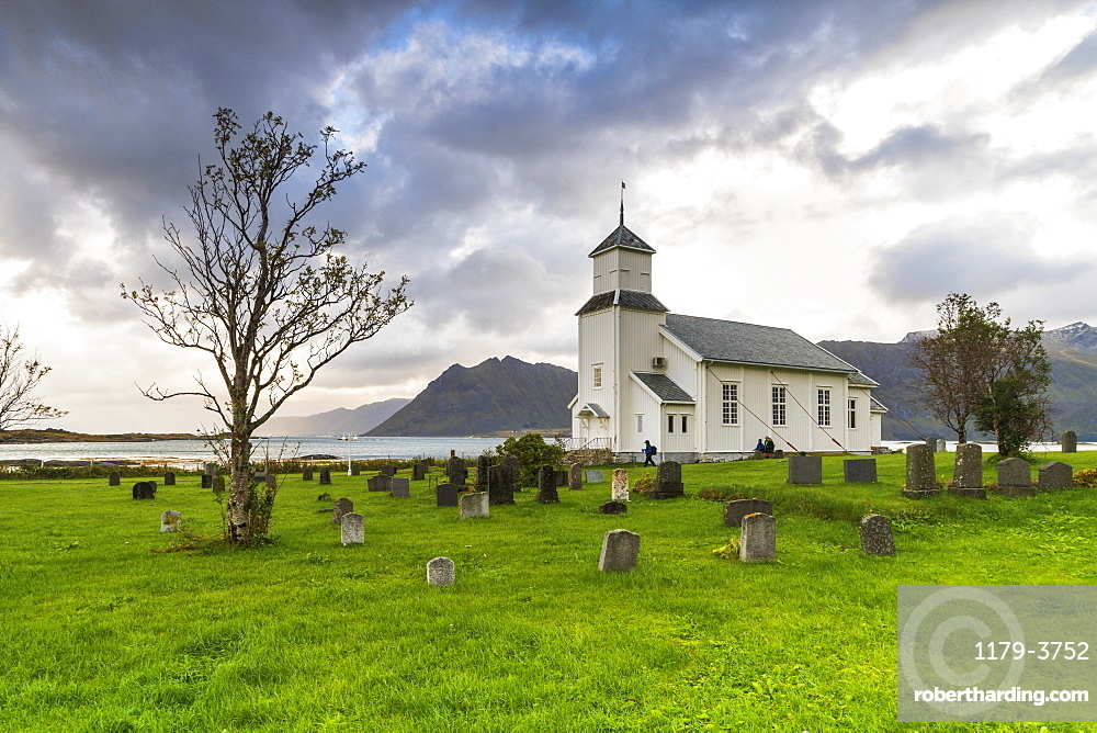 Church and cemetery of Gimsoya, Lofoten Islands, Norway, Europe