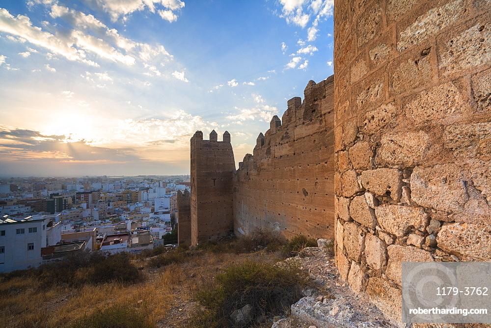 Walls of Alcazaba of Malaga at sunset in Almeria, Spain, Europe