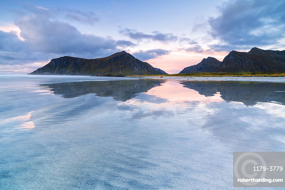 Skagsanden beach at sunset in Lofoten Islands, Norway, Europe