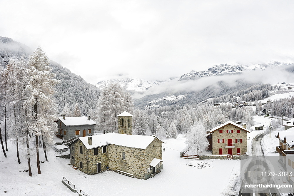 Town during winter in San Giuseppe, Valtellina, Italy, Europe
