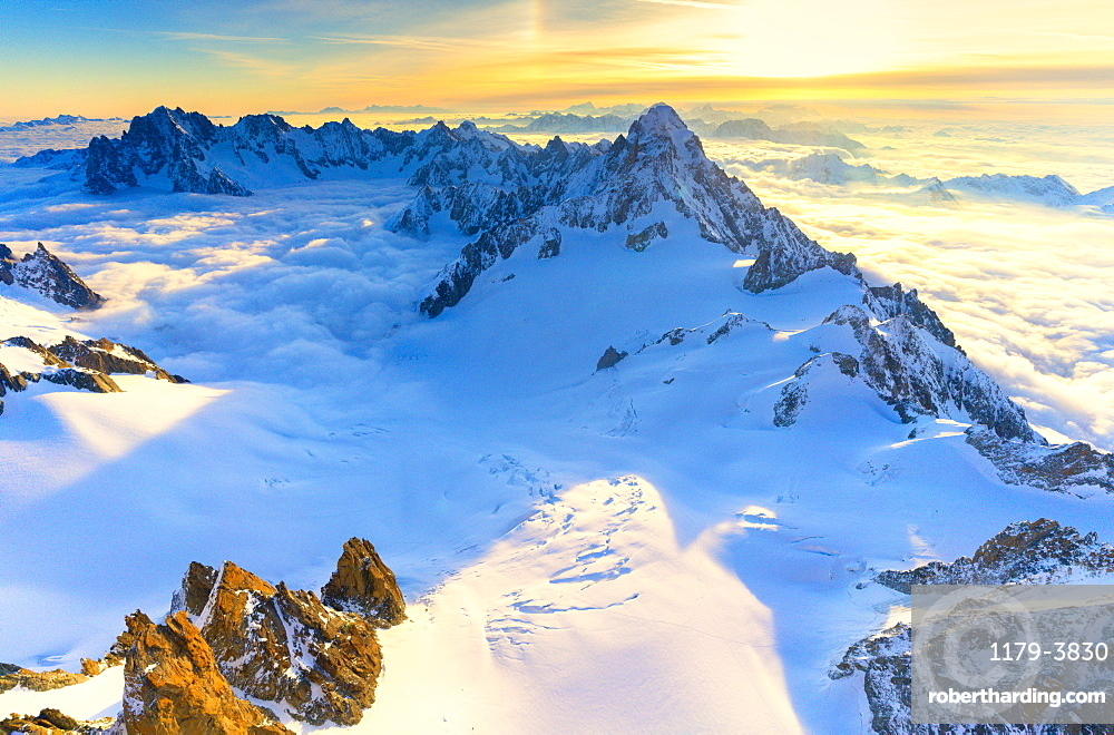 Aerial view of the Grand Jorasses at sunrise, Mont Blanc massif, Courmayeur, Aosta Valley, Italy, Europe