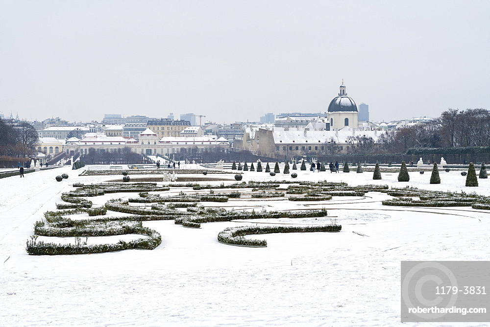 Belvedere Garden covered with snow, Vienna, Austria, Europe