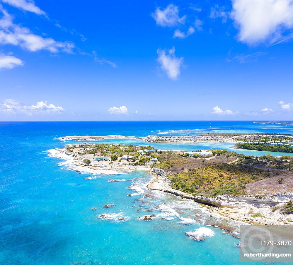 Aerial panoramic by drone of Long Bay, Devil's Bridge and The Verandah resort, Antigua, Antigua and Barbuda, Leeward Islands, West Indies, Caribbean, Central America