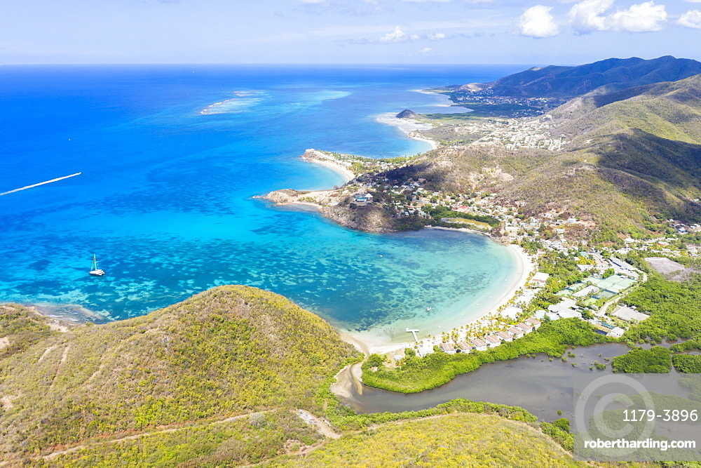 Aerial panoramic by drone of Carlisle Bay Beach and Caribbean Sea, Antigua, Antigua and Barbuda, Leeward Islands, West Indies, Caribbean, Central America