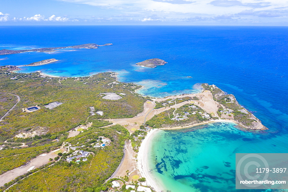Aerial panoramic by drone of white sand beach of Exchange Bay and Friars Head Bay, Antigua, Leeward Islands, West Indies, Caribbean, Central America