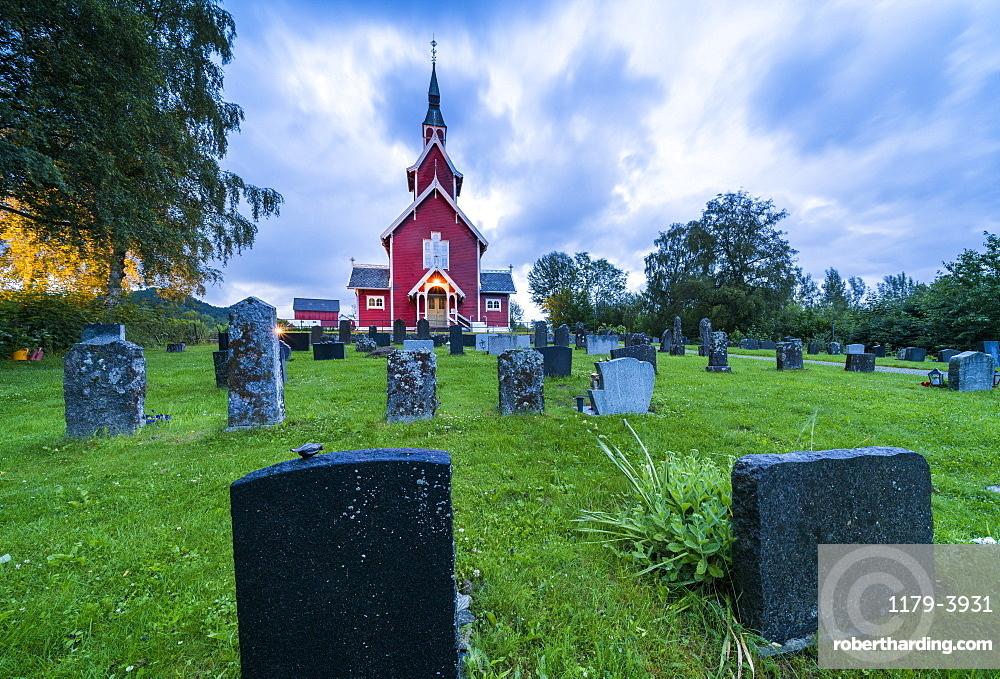 Tombstones in the graveyard of Veoy Church, Solsnes, Molde Municipality, More og Romsdal county, Norway, Scandinavia, Europe