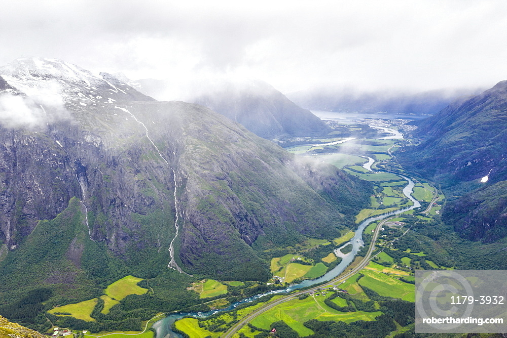 Aerial view of Rauma river and green valley from Romsdalseggen ridge, Andalsnes, More og Romsdal county, Norway, Scandinavia, Europe