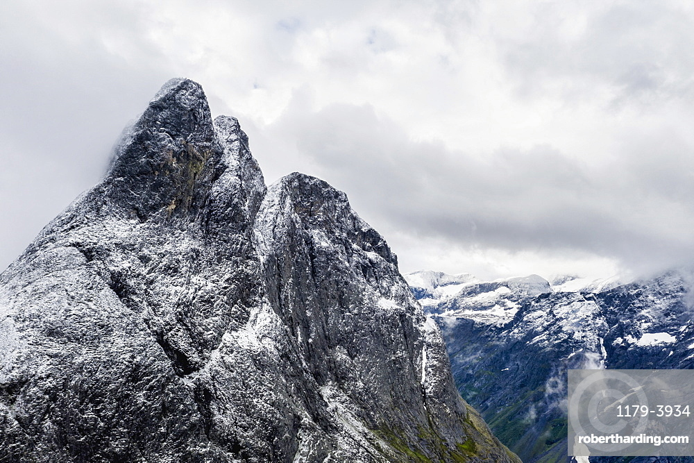 Aerial view of the rocky peak of Romsdalshornet, Venjesdalen valley, Andalsnes, More og Romsdal county, Norway, Scandinavia, Europe