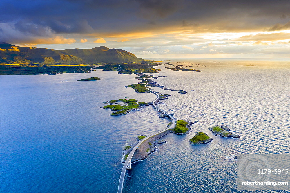 Aerial view of the Atlantic Road during sunset, More og Romsdal county, Norway (drone)