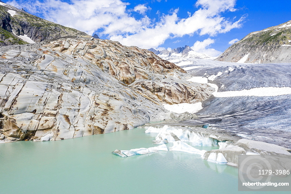 Rhone Glacier and glacial lake at its base in summer, aerial view, Gletsch, Canton of Valais, Switzerland, Europe