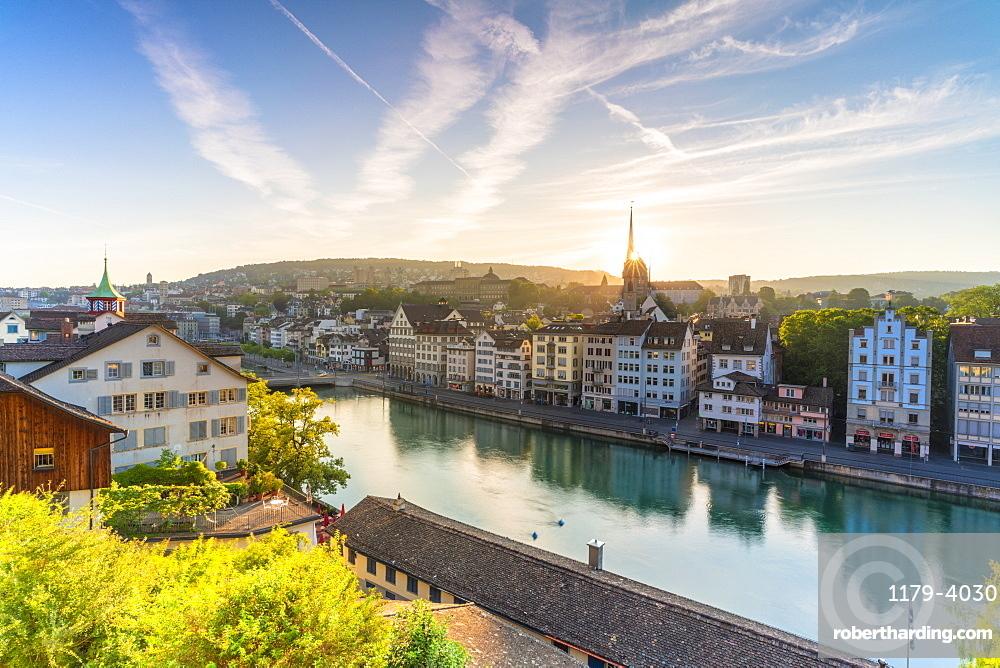 Sunrise over Limmat River seen from Lindenhof Hill, Zurich, Switzerland, Europe