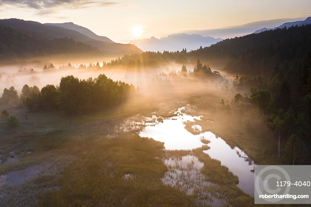 Fog at sunrise over the swamp of Pian di Gembro Nature Reserve, aerial view, Aprica, Valtellina, Lombardy, Italy