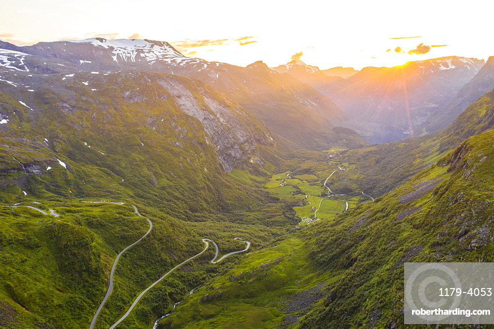 Narrow bends of road leading to Geiranger from Dalsnibba mountain, aerial view, Stranda municipality, More og Romsdal, Norway