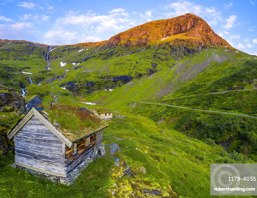 Aerial panorama of Dalsnibba mountain and traditional huts with grass roof, Stranda municipality, More og Romsdal county, Norway