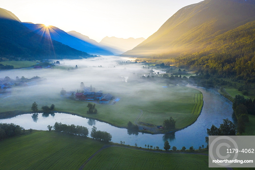 Mist over the cultivated fields along Stryneelva river, aerial view, Stryn, Nordfjorden, Sogn og Fjordane county, Norway, Scandinavia, Europe