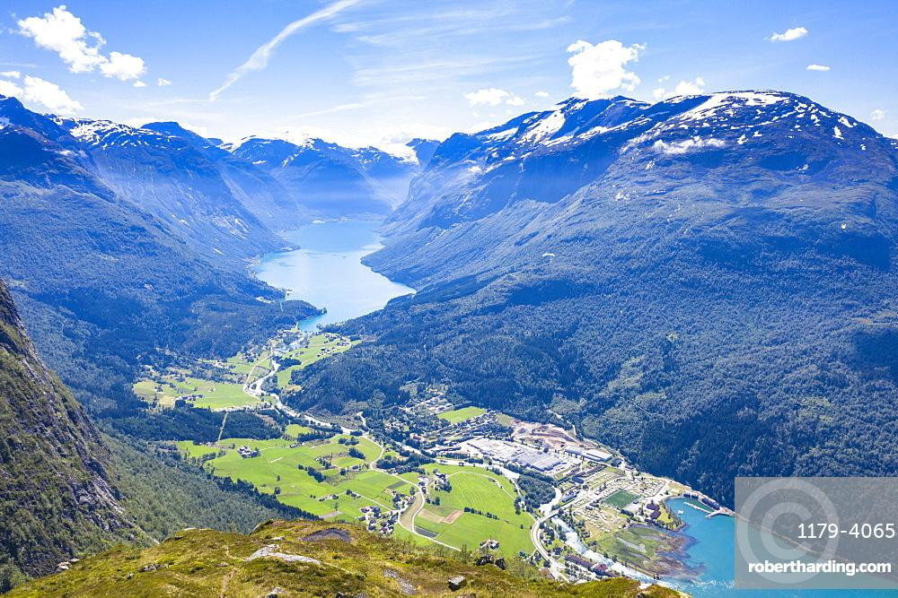 Aerial view of Lovatnet lake, Loen village and Nordfjord, Stryn, Sogn og Fjordane county, Norway