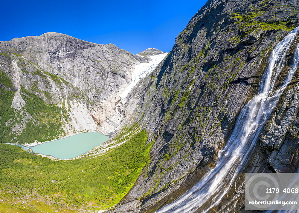 Aerial panoramic of waterfall above Briksdalsbreen glacier, Loen, Jostedalsbreen National Park, Sogn og Fjordane, Norway (drone)