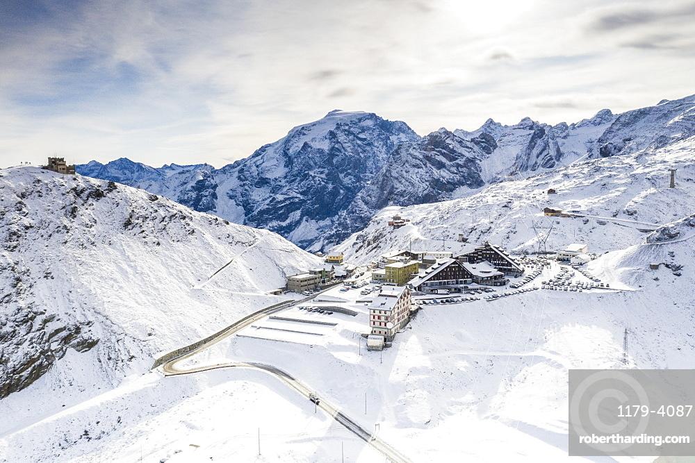 Aerial view of Rifugio Garibaldi, Ortles mount and Stelvio Pass covered with snow, Sondrio province, Valtellina, Lombardy, Italy, Europe