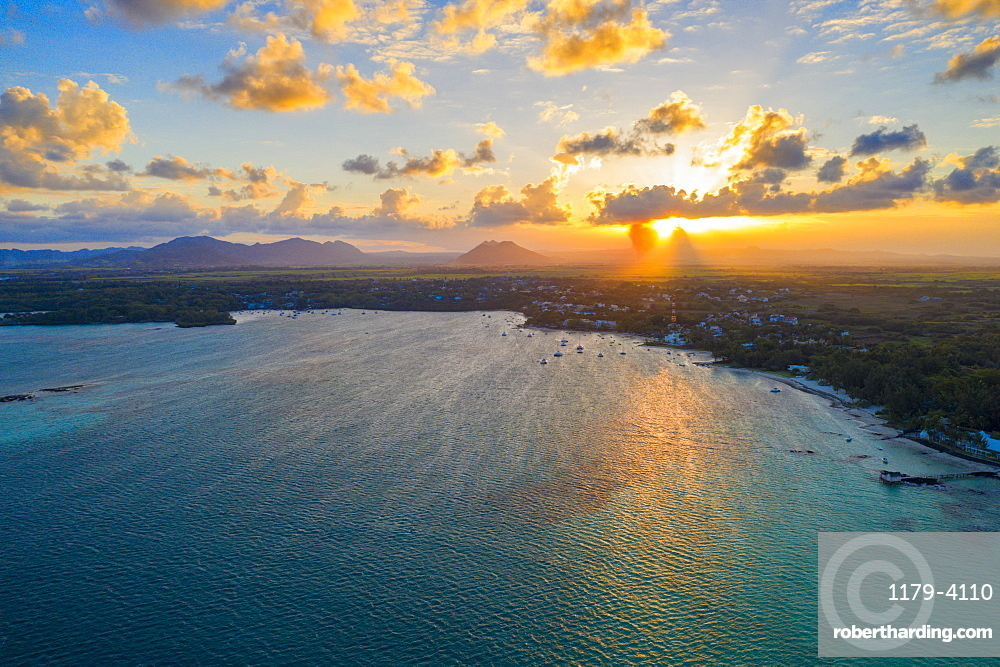 Sunset over Trou d'Eau Douce bay, aerial view, Flacq district, East coast, Mauritius, Indian Ocean, Africa