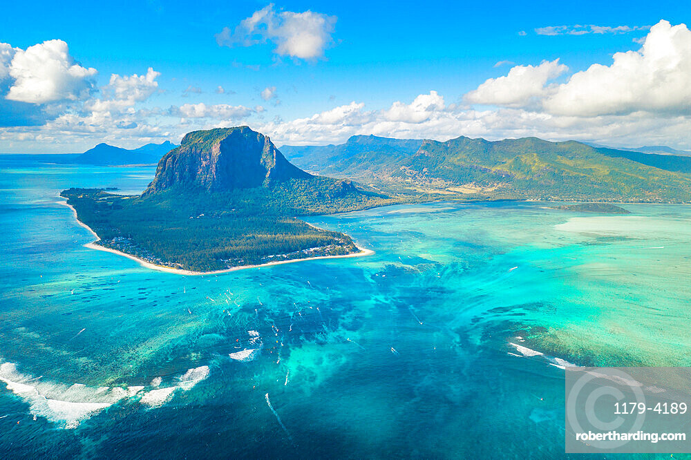 Aerial view of Le Morne Brabant and the Underwater Waterfall optical illusion and natural phenomena, Mauritius, Indian Ocean, Africa