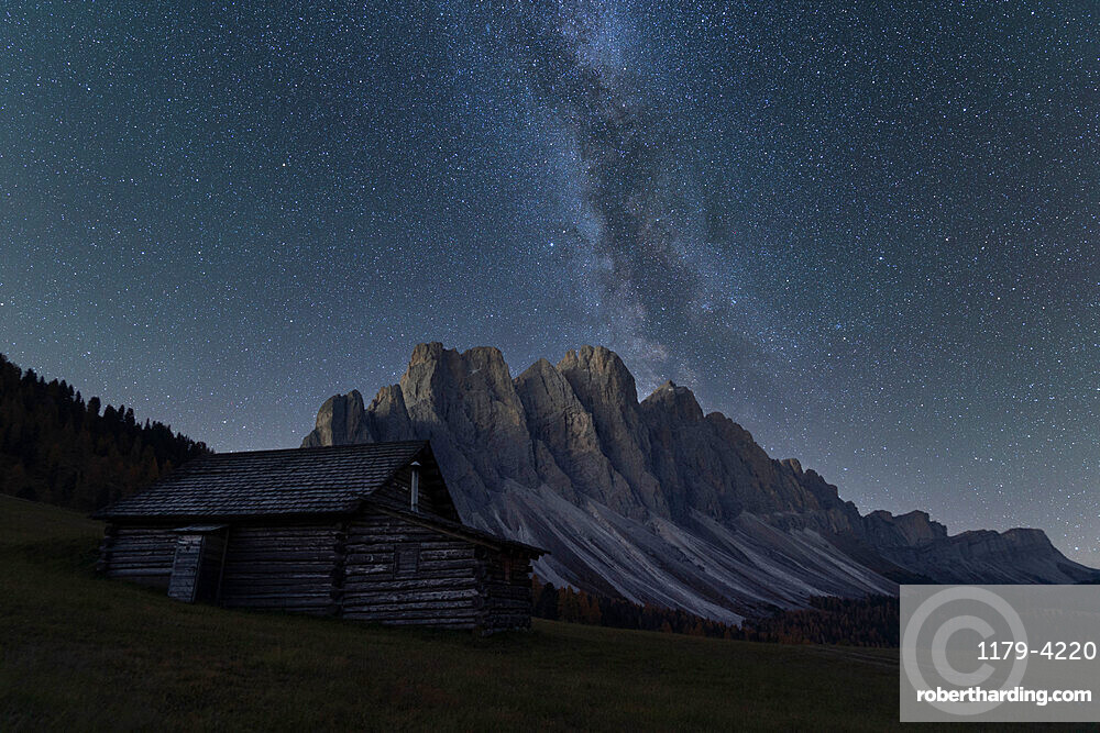 Milky Way over the Odle group seen from Gampen Alm, Funes Valley, Dolomites, Bolzano province, South Tyrol, Italy, Europe