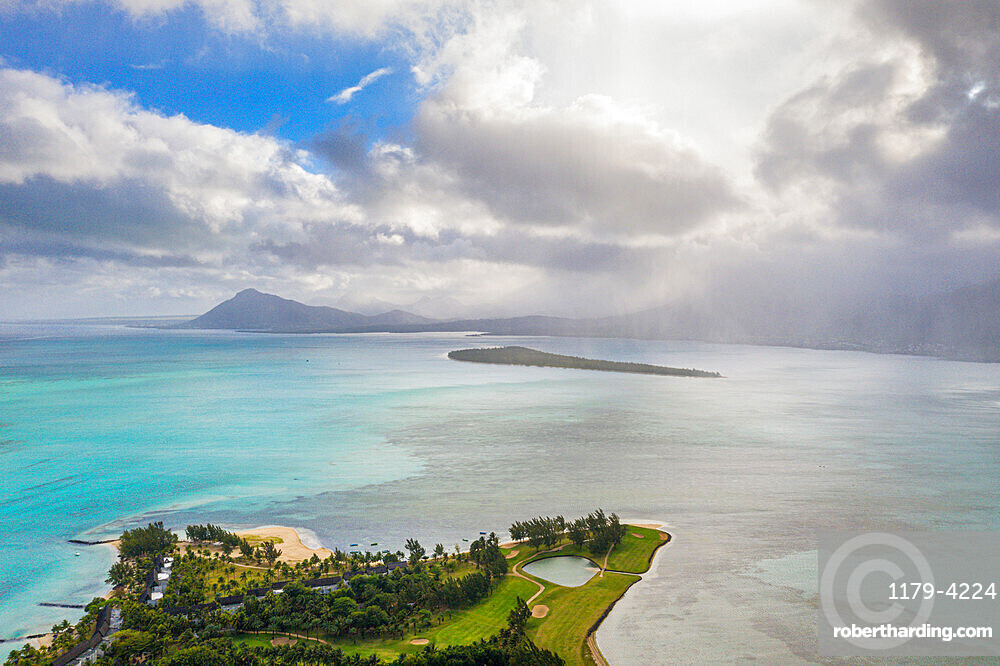 Aerial view by drone of Ile aux Benitiers island seen from golf course of luxury resort, La Gaulette, Le Morne, Mauritius, Indian Ocean, Africa