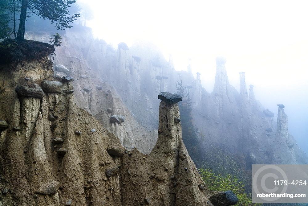 Fog over the Earth Pyramids, Perca/Percha, province of Bolzano, South Tyrol, Italy