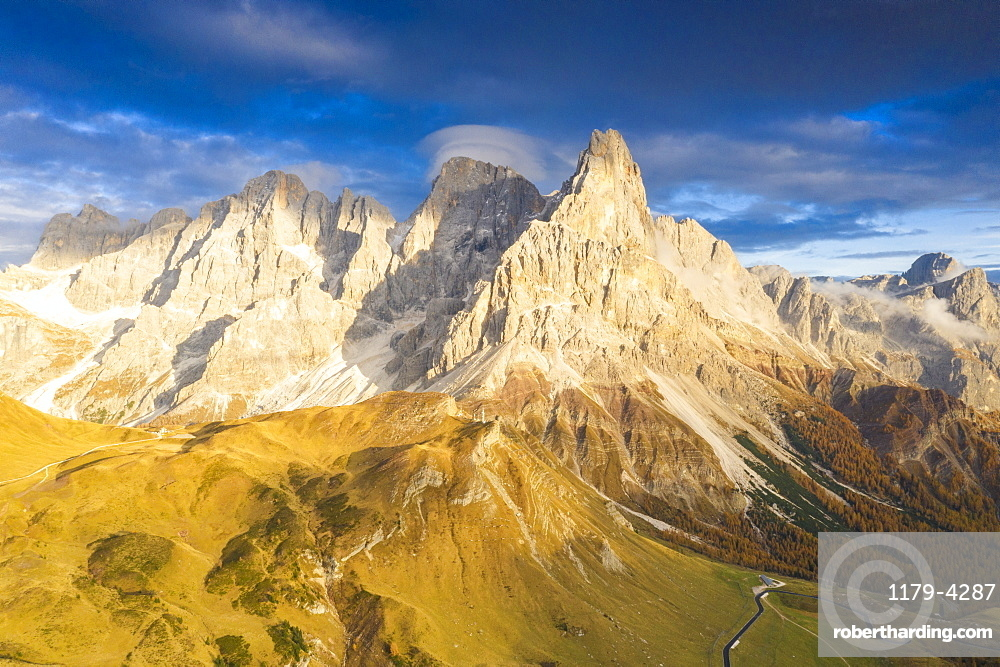 Aerial view of Cimon della Pala during the autumn sunset, Pale di San Martino, Rolle Pass, Dolomites, Trentino, Trento, Italy, Europe