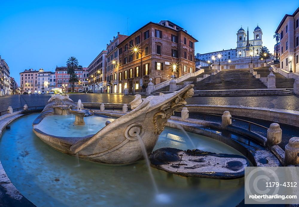 Panoramic of Piazza di Spagna (Spanish Steps), Barcaccia fountain and Trinita dei Monti, Rome, Lazio, Italy, Europe