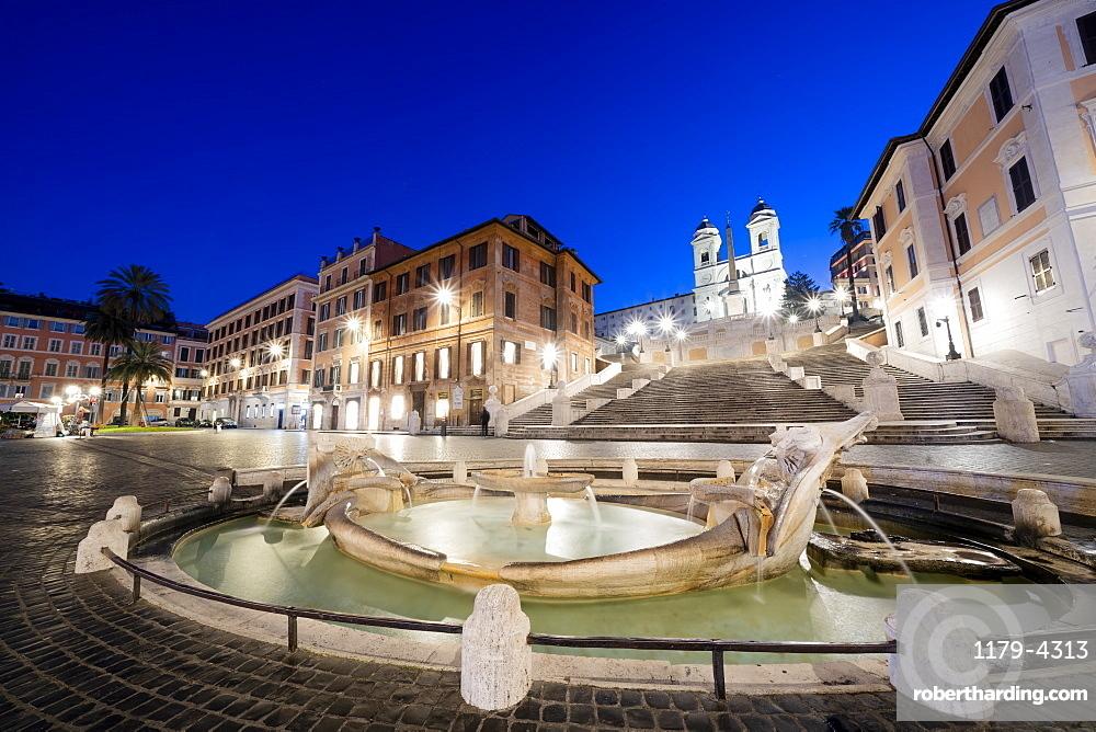 Piazza di Spagna (Spanish Steps) with Barcaccia fountain in foreground and Trinita?Ćdei Monti in background, Rome, Lazio, Italy, Europe