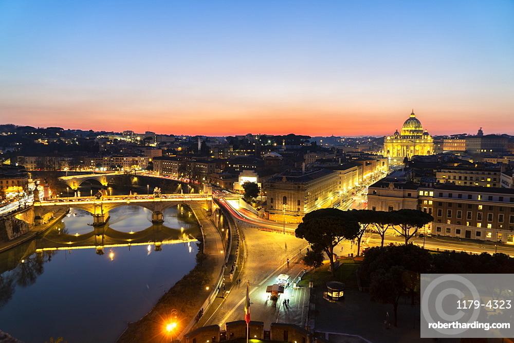 River Tiber and St. Peter's Basilica (Basilica di San Pietro) from Castel Sant'Angelo at dawn, Vatican City, Rome, Lazio, Italy, Europe