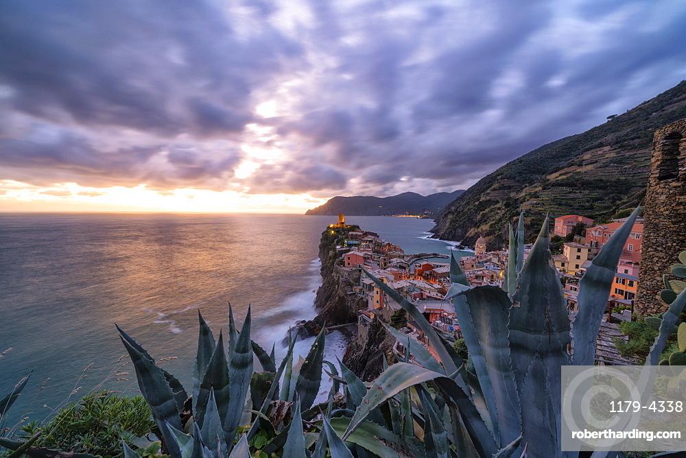 Dramatic sky at sunset over Vernazza, Cinque Terre, La Spezia province, Liguria, Italy