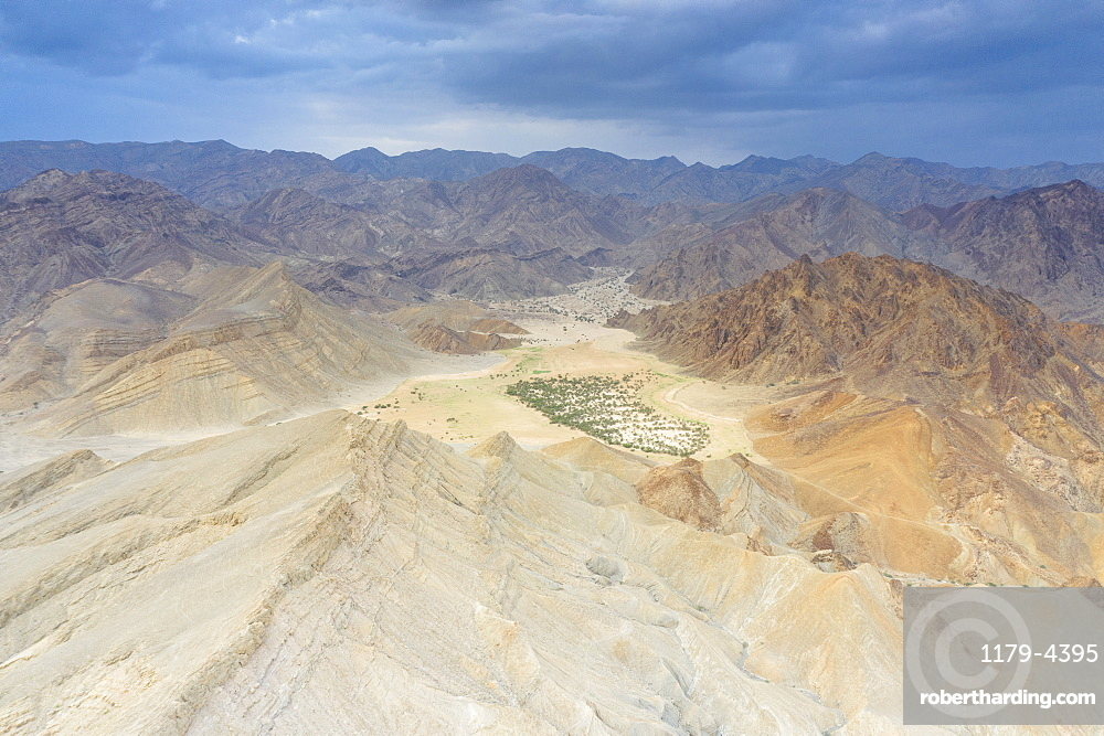 Oasis amidst rocks of Wadi Saba canyon, aerial view, Melabday, Asso Bhole, Dallol, Danakil Depression, Afar, Ethiopia, Africa