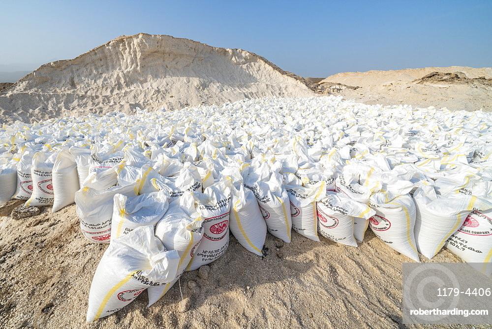Salt bags in the salt mine of Lake Afrera (Lake Afdera), Danakil Depression, Afar Region, Ethiopia, Africa