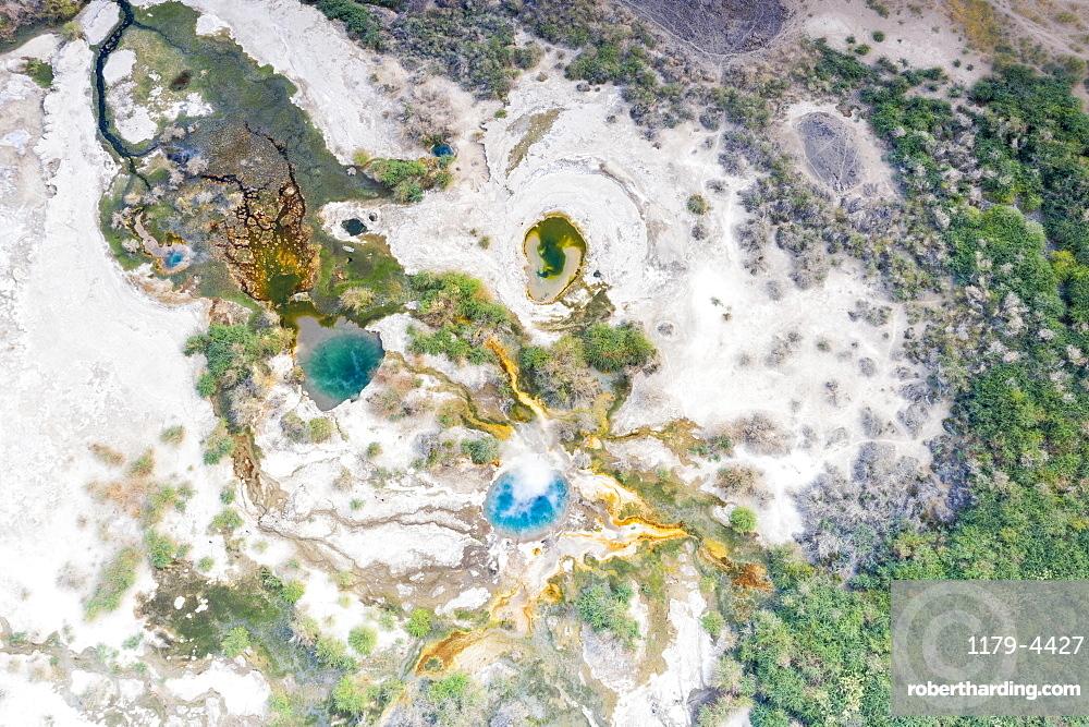 Aerial view by drone of Ala Lobet (Alol Bet) geyser erupting, Semera, Afar Region, Ethiopia, Africa