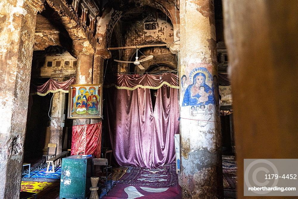 Fresco and paintings on pillars inside Abreha We Atsbeha church, Tigray Region, Ethiopia, Africa