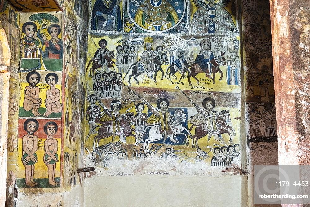 Fresco paintings in Abreha We Atsbeha church, Tigray Region, Ethiopia, Africa