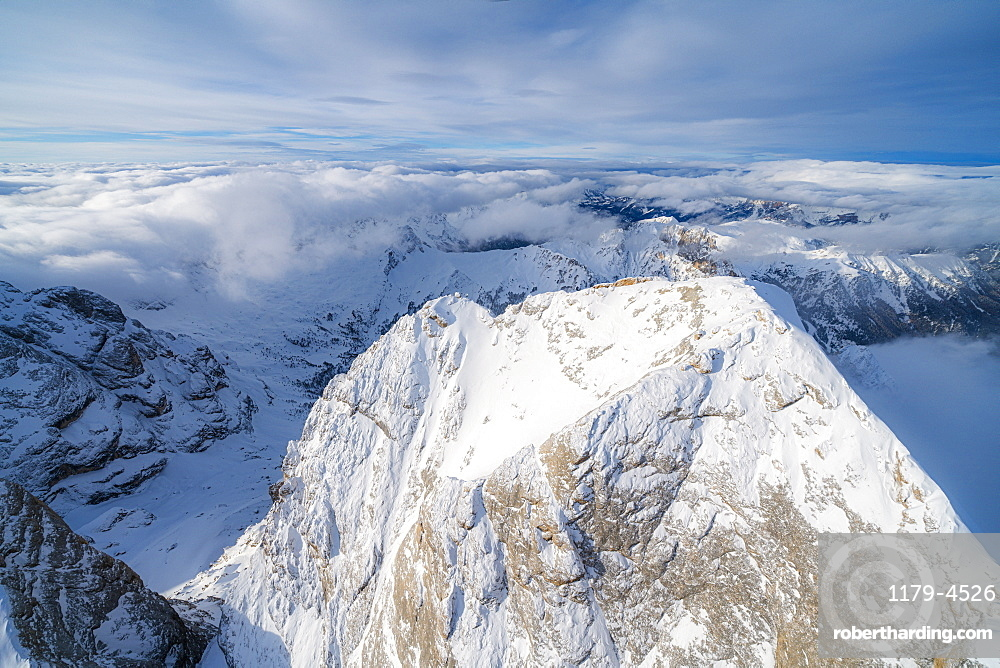 Aerial view of Gran Vernel covered with snow, Marmolada group, Dolomites, Trentino-Alto Adige, Italy