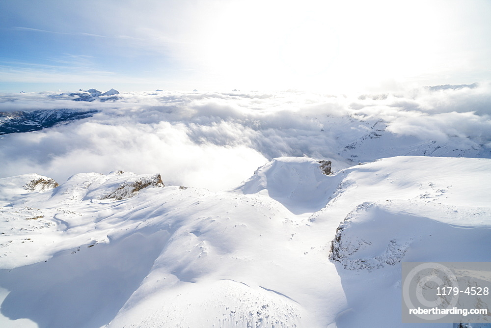 Aerial view of Sass Pordoi covered with snow, Sella group, Dolomites, Trentino-Alto Adige, Italy