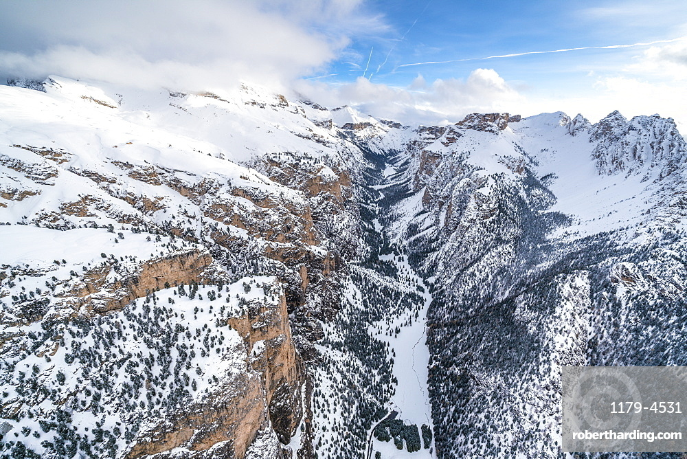 Aerial view of Vallunga, Monte Stevia and Cir group in winter, Val Gardena, Dolomites, Trentino-Alto Adige, Italy