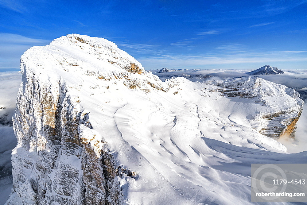 Monte Pelmo after a snowfall, aerial view, Dolomites, Belluno province, Veneto, Italy