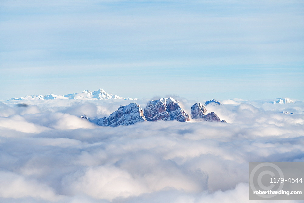 Aerial view of Monte Cristallo and Pomagagnon peaks emerging from clouds, Dolomites, Belluno province, Veneto, Italy