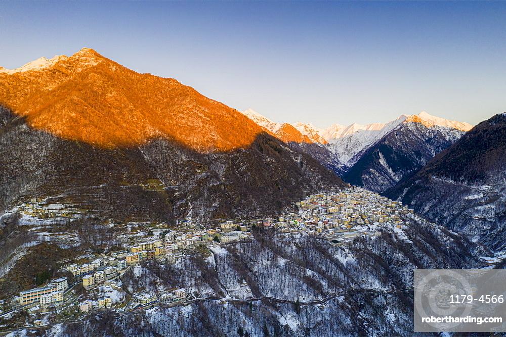 Aerial view of Premana village at sunset, Valsassina, Lecco province, Lombardy, Italy (drone)