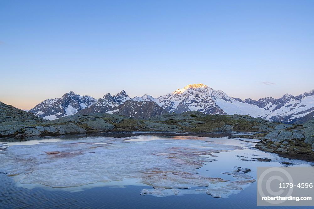 Sunrise over the snowy peak of Monte Disgrazia, Alpe Fora, Valmalenco, Sondrio province, Valtellina, Lombardy, Italy