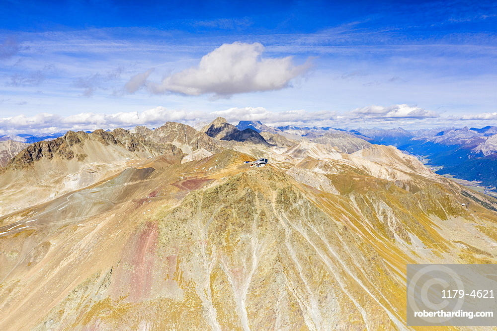 Aerial view by drone of the majestic ridge and peak of Piz Nair in summer, Engadine, canton of Graubunden, Switzerland, Europe