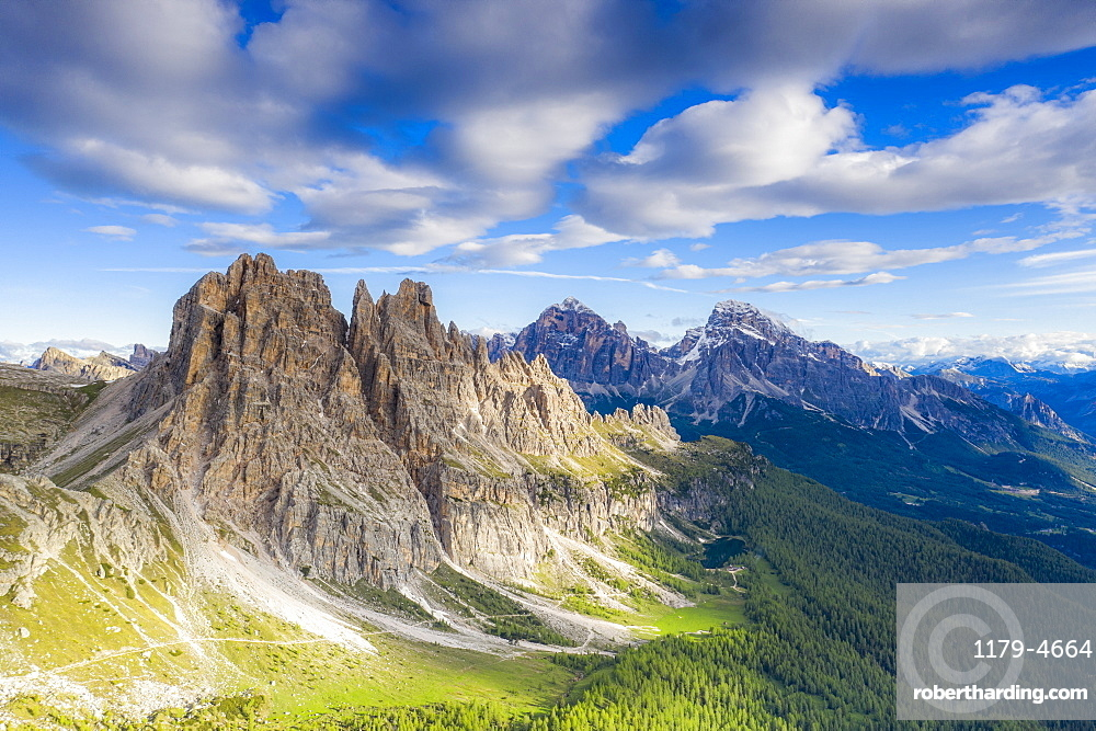 Clouds over Cima Ambrizzola, Tofane and Federa Lake surrounded by woods, Dolomites, Cortina d'Ampezzo, Veneto, Italy, Europe
