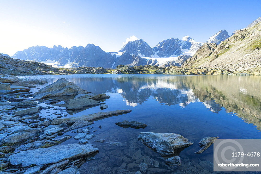 Bernina Group reflected in the clear water of Forbici lake at dawn, Valmalenco, Valtellina, Sondrio province, Lombardy, Italy, Europe