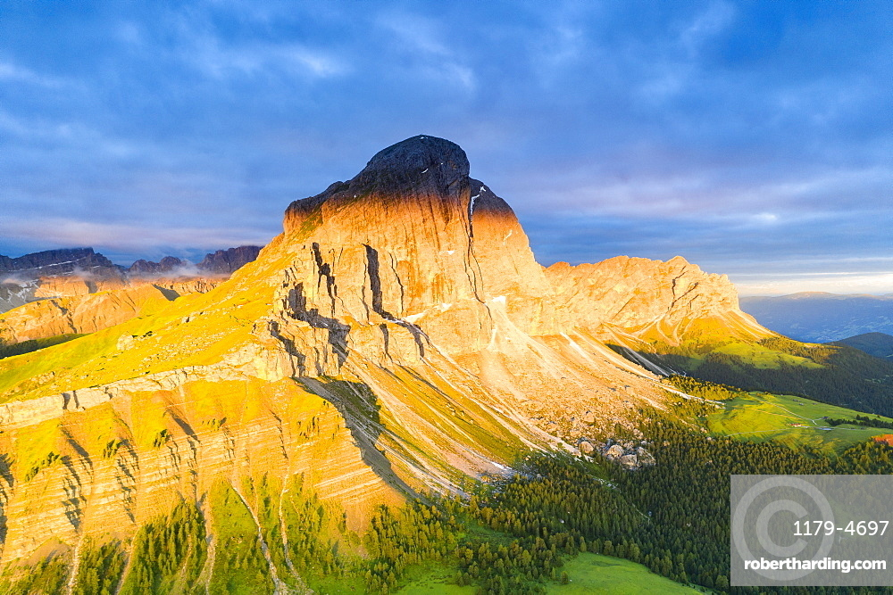 Aerial view of Sass De Putia and Odle di Eores (Aferer Geisler) at sunrise, Passo Delle Erbe, Dolomites, South Tyrol, Italy